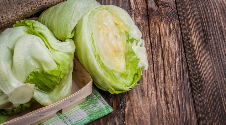 Iceberg lettuce on table