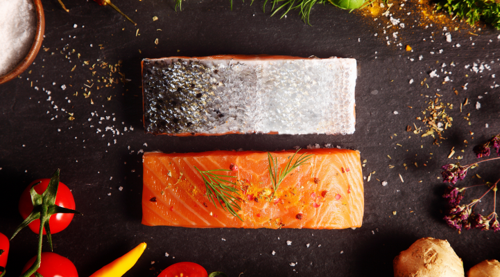 Salmon rich in omega-3 fatty acids