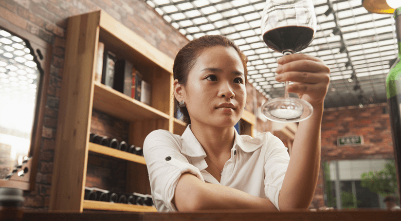 Chinese lady with red wine