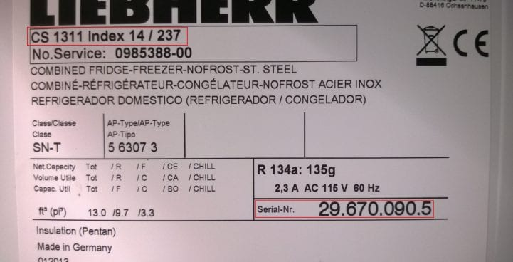 the serial plate on liebherr appliances