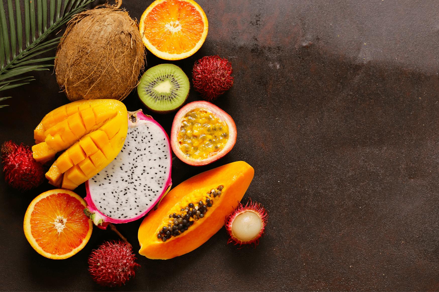 fruits exotiques, coco, kiwi, mangue, papaye, fuit du dragon, recette, conseil, alimentation